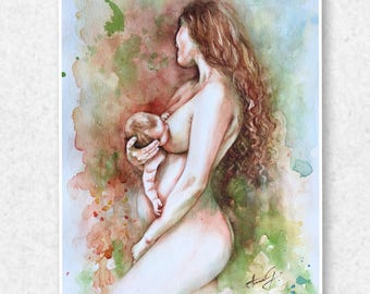 Life Creation - Gretchen Original, Watercolor Artwork, Mother and Child Watercolour Painting
