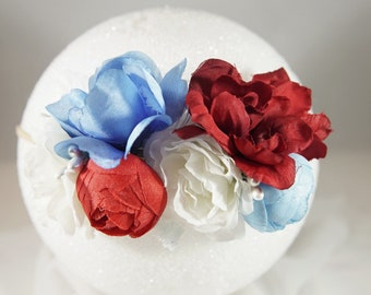 Patriotic Red White and Blue Floral Headband