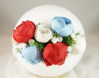 Patriotic Red, White and Blue Floral Headband