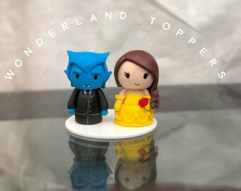 Disney Beauty And The Beast Wedding Cake Topper Lot