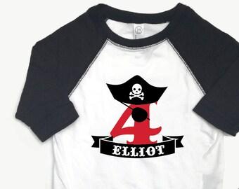 81aeac03 Pirate Birthday, Boy Pirate Shirt, Pirate 4th Birthday, Pirate Birthday  Shirt, Black Pirate Shirt, Pirate Birthday Tee