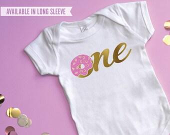 Donut Birthday Shirt, Donut One Shirt,  Baby Girl 1st Birthday, One Donut Birthday, Donut First Birthday, 1st Donut Birthday Party