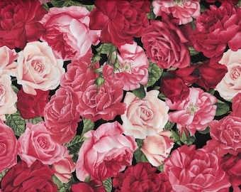 Red & Pink Rose Garden by Timeless Treasures Fabric / OOP Cotton / BTHY / Beautiful Roses / Rose Buds / Quilting Fabric / Rose-C #5815