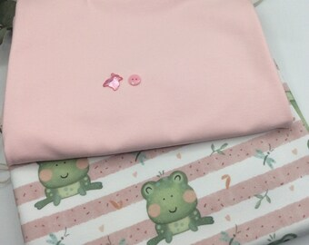 Fabric pack 50x145 cmFrench Terry Frog Organic Colorful Home Production+50 x150 cm jersey pink Hilco+2 buttons baby clothes kids clothes DIY