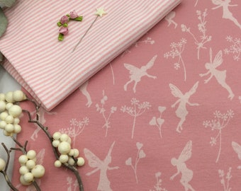 Fabric package 50 x 140 cm elven dance Interlock C.Pauli 100% Co+20 x 36 cm ringlets pink/white baby clothes pump pants turban beanie pink