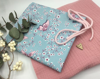 """Fabric pack 50 x 130 cm muslin fabric rose+ 50 x 150 cm finest Popeline butterfly """" Cherry Blossom"""" baby and children's clothing +Knopf+Cord"""