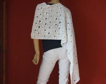 Cloak, scarf, poncho cape, knit, white