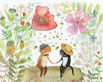 You're my Honey Bee - Giclee Print - Cute Romantic Cats