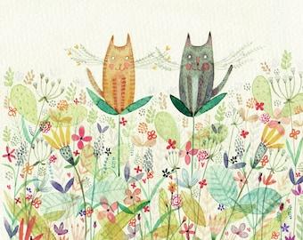 Cat Buds - Giclee Print - Fun and Whimsical