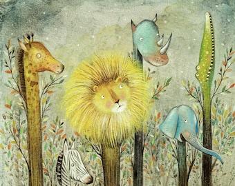 The Dream Trees - Giclee Print - Whimsical Art - Children's Art - Nursery Print