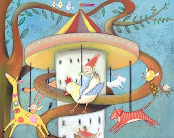 The Tree Carousel - Giclee Print - Fantasy Art - Carousel - Animal Illustration - Nursery Print