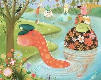The Sea Monster - Giclee Print - Whismical Artwork - Children's Art - Nursery Print