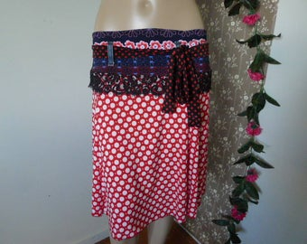 Funky red & Blue Polka Stretch Skirt - with up cycled denim and repurposed fabrics. Size 12-14 / M / EU38-40-42