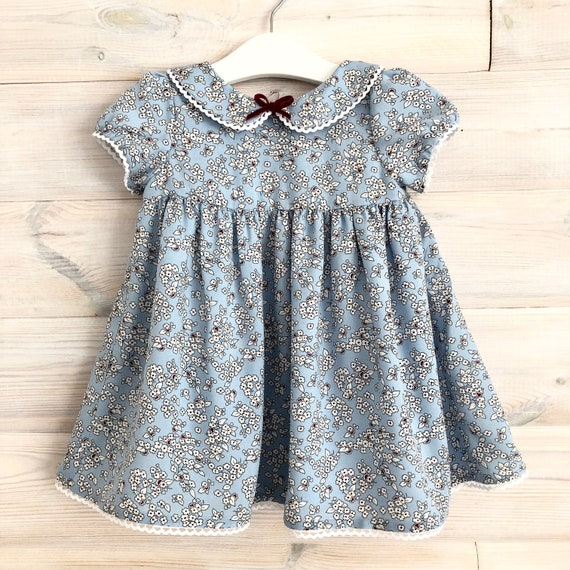 blue floral baby girl dress, casual little girls dresses, lace girls dress with collar and short sleeves, spring summer dresses for girls