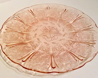 Vintage pink pressed glass serving plate, pink glass serving dish, retro pink pressed glass plate, pink glass cake plate, pink glass dish