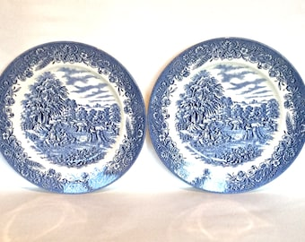 Churchill blue and white china plates Churchill Harvest Dinner plates vintage blue and white decorative plate blue and white cake plate & Decorative plates | Etsy