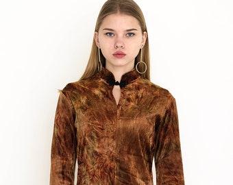 VINTAGE Brown Velvet Shiny Retro Blouse