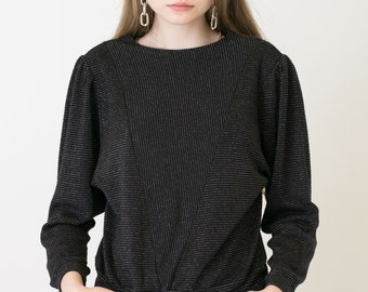 VINTAGE Black Shiny Retro Striped Sweater