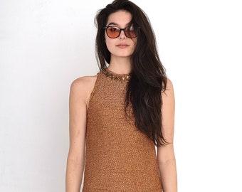 VINTAGE Brown Shiny Retro Dress