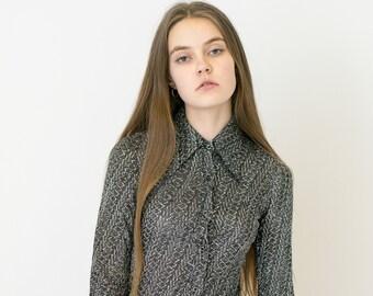 VINTAGE Grey Striped Shiny Retro Shirt