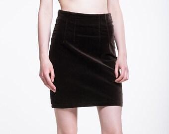 VINTAGE Brown Velvet High Waist Retro Skirt