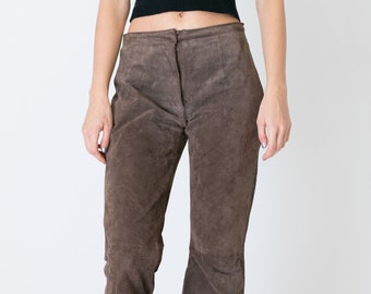 VINTAGE Brown Suede Leather Retro Wide Leg Trousers