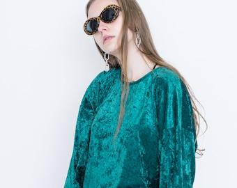 VINTAGE Blue Green Velvet Shiny Retro Sweater