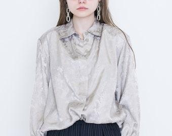 VINTAGE Grey Patterned Retro Shirt