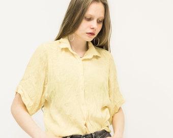 VINTAGE Yellow Short Sleeve Retro Shirt
