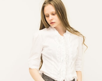 VINTAGE White Short Sleeve Retro Shirt