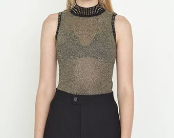 VINTAGE Gold See Through Sleeveless Shiny Retro Top