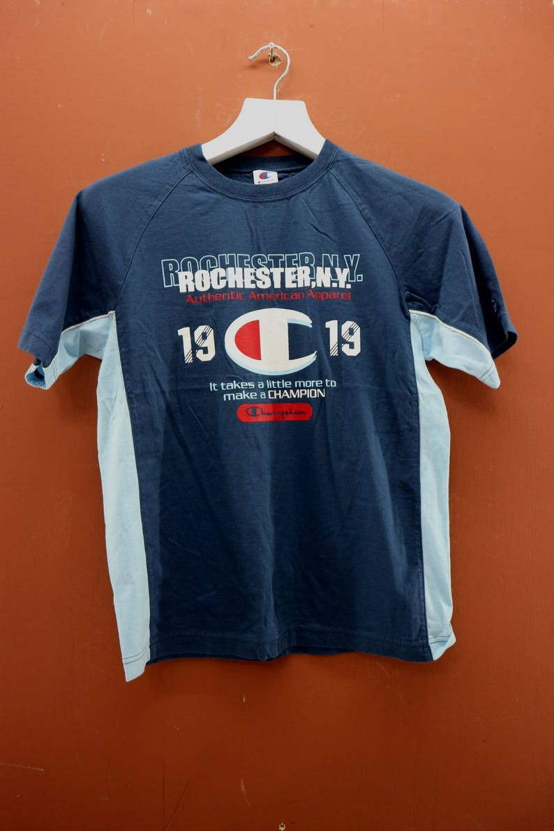 967a5e466808 Vintage Champion Rochester NY T-Shirt Casual Street Sport Wear