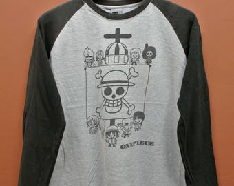 Vintage One Piece Long Sleeves T-Shirt Luffy Tony Chopper Japan Pirate Anime Street Wear Top Tee Size L