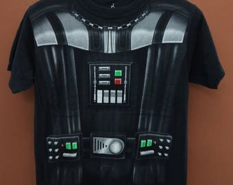 Vintage Star Wars Dark Vader Full Print T-Shirt Disneyworld Skywalker Street Wear Top Tee Size S