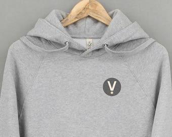 Ethical Vegan Hoodie • V for Vegan • 7 icon colour options. Men's / Women's. 100% organic cotton. People, animal + eco friendly