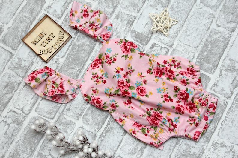 9ef960518c2 Floral baby girl romper   Ruffle Butt girl romper   Sunsuit