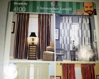Simplicity 4100 Christopher Lowell drapery panel pattern/instructions NEW
