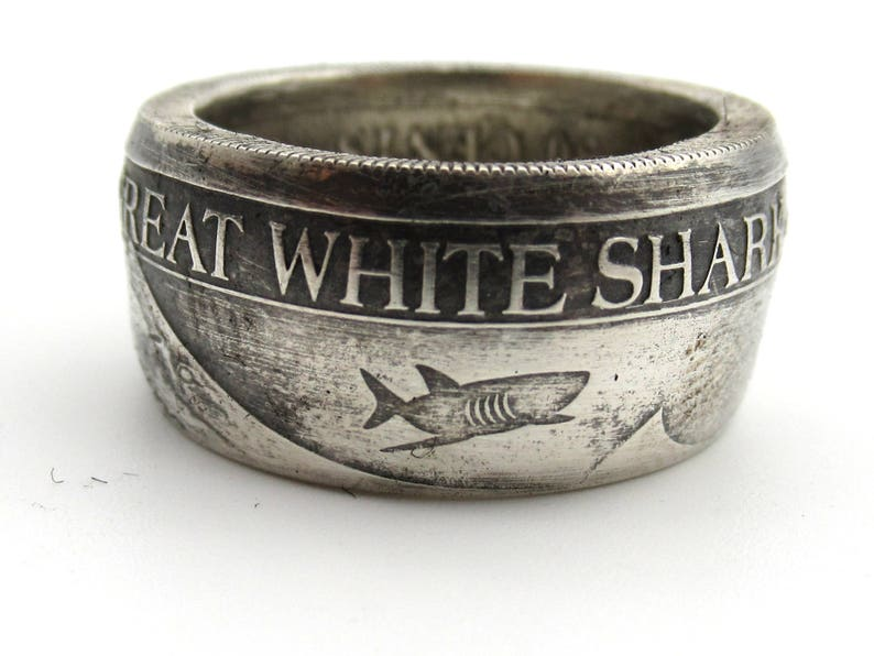 Great White Shark coin ring Ocean jewelry coin ring  Pure silver  Can be  engraved