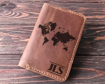 Passport Cover Travel Gift Personalized Leather Passport Holder Passport Wallet World Map Personalized Passport Holder Gift for Traveler k18