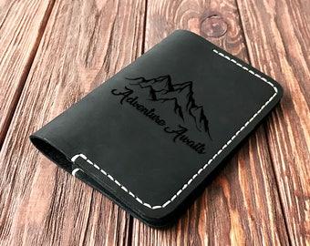 Adventure Awaits Personalized Passport Cover, Leather Passport Holder Travel Gift Passport Wallet Wanderlust Mountain Passport Holder k22
