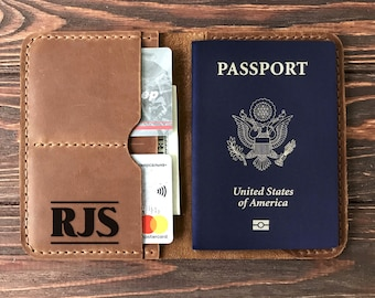 Engraved Personalized Passport Holder. Leather Passport Holder, Personalized Passport Cover, Genuine Leather, Travel Gift, Gift for Traveler