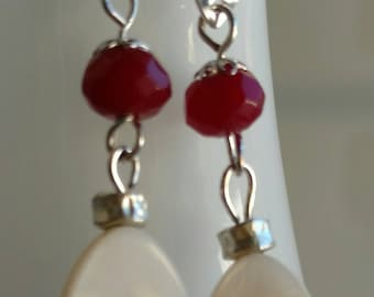 Red and white earrings, mother of pearl