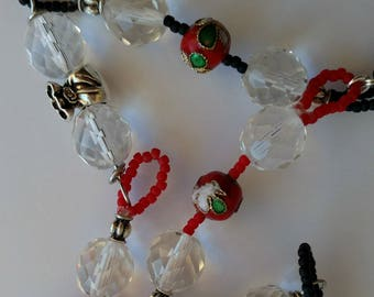 Long necklace, crystals, transparent, red and black