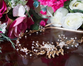 Gold or Silver bride/bridesmaid hair band decorated in a floral design