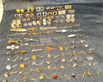 Vintage Swank Jewelry Box & 84  Cufflinks Sets, Tie Clips and Clasps