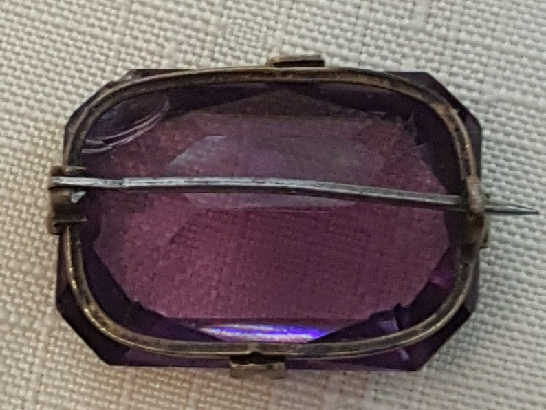 Massive Antique Amethyst Approximately 30 Carats and Sterling Silver Brooch