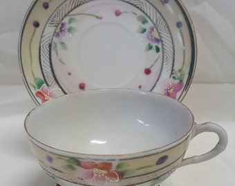 Antique Eggshell Hand Painted Cup and Saucer Set Japan