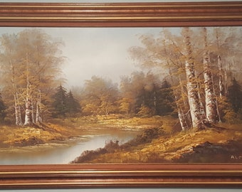 "Listed Artist Almon Beautiful Large 24"" x 48"" Oil on Canvas Landscape with C.O.A"