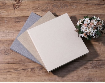 28cm Peel N Stick Self Adhesive Jute Cover 20Pgs DIY Photo Album Wedding / Baby Shower Birthday / Holiday