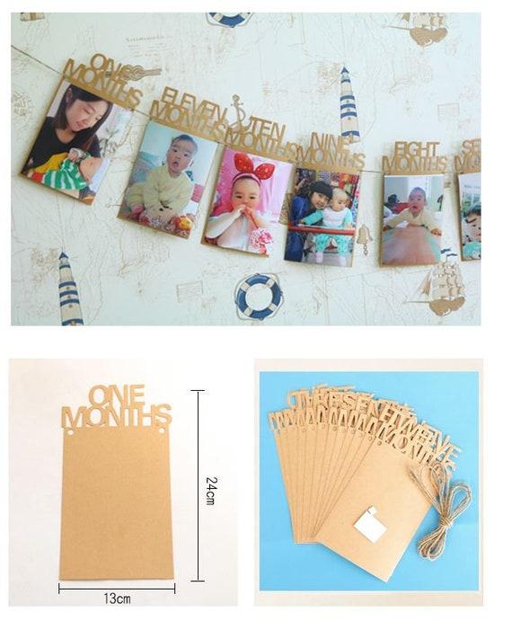 1st Baby Birthday 1-12 Months Cardboard Photo Frame DIY Party | Etsy